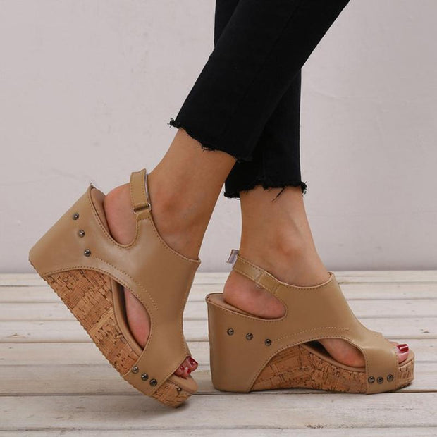 Portable Chunky Heel Peep Toe Sandals
