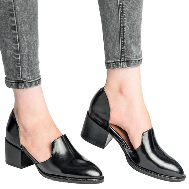 England Style Women Pointed Toe Chunky Hollow Ankle Boots