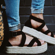 Women Espadrilles Platform Criss Cross Strappy Sandals - Chicshoeshop