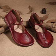 Retro Handmade Magic Tape Ankle Strap Flat Mary Jane Loafers