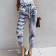 Women Summer Fashion Fitted Pinstripe Pants