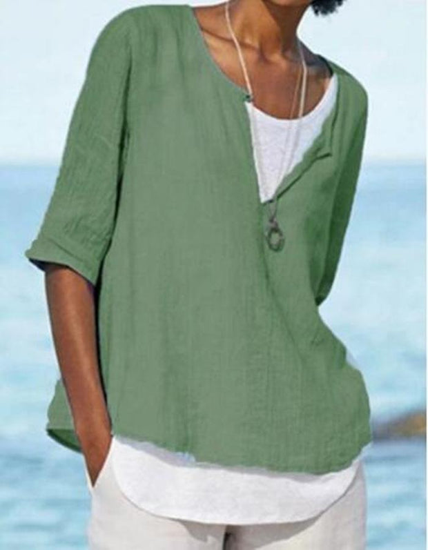 Womens Half Sleeve V Neck Cotton Solid Tops