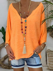Pure Color Loose Flared Sleeve V Neck Women Tops