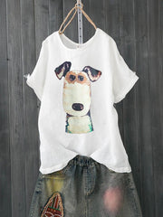 Women Casual Dog Print Short Sleeve Shirts & Tops