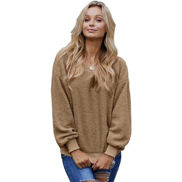 Casual Pure Color Loose Long Sleeve Crew Neck Pullover Sweater