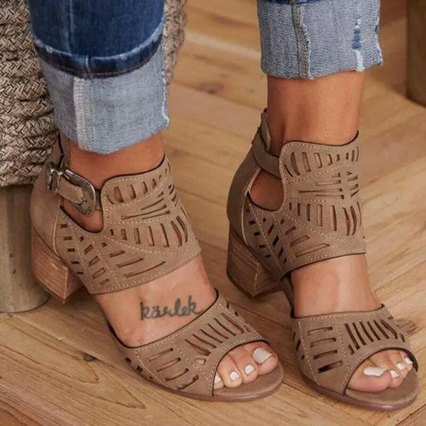 Medium Height Suede Hollow Adjustable Buckle Peep Toe Sandals