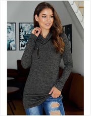 New Fashion Slim Pullover Turtleneck Zipper Black Sweatshirt