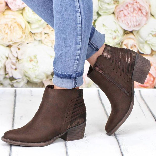 2019 Autumn Pointed Toe Square Chunky Martin Boots