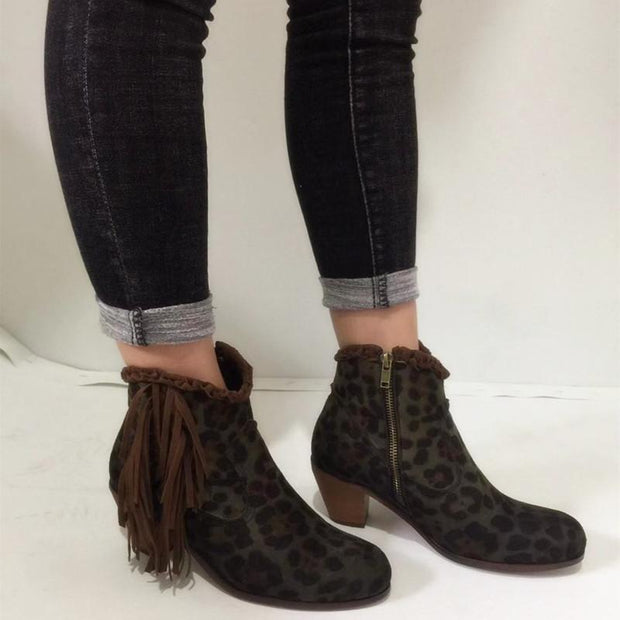 Women Leopard Short Boots Chunky Round Toe Tassel Boots