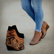 Women Winter Fashion Medium High Leopard Suede Wedge Boots