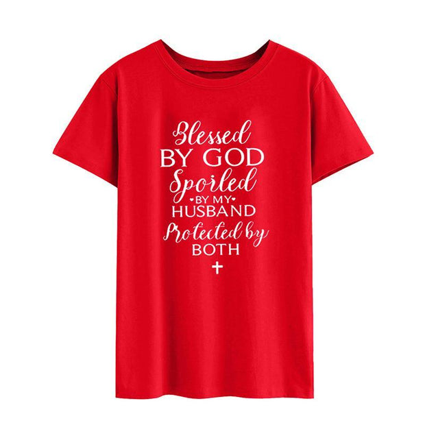 Blessed By God Women Loose Casual Tops