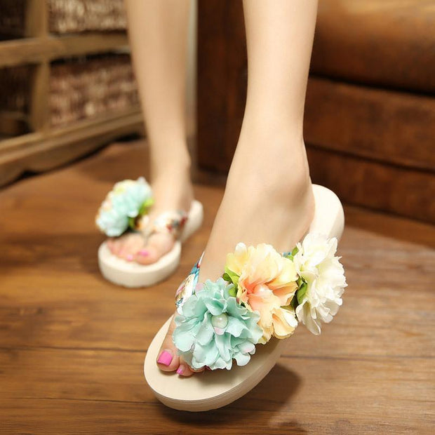 11 Colors Faux Pearl Big Flowers Satin Slippers For Women - Chicshoeshop