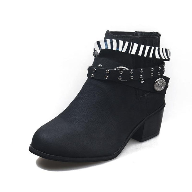Vintage Elastic Lace Up Rivet Chunky Heel Women Short Boots