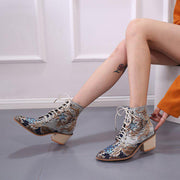 Women Winter Embroidered Pointed Toe Ankle Lace Up Boots