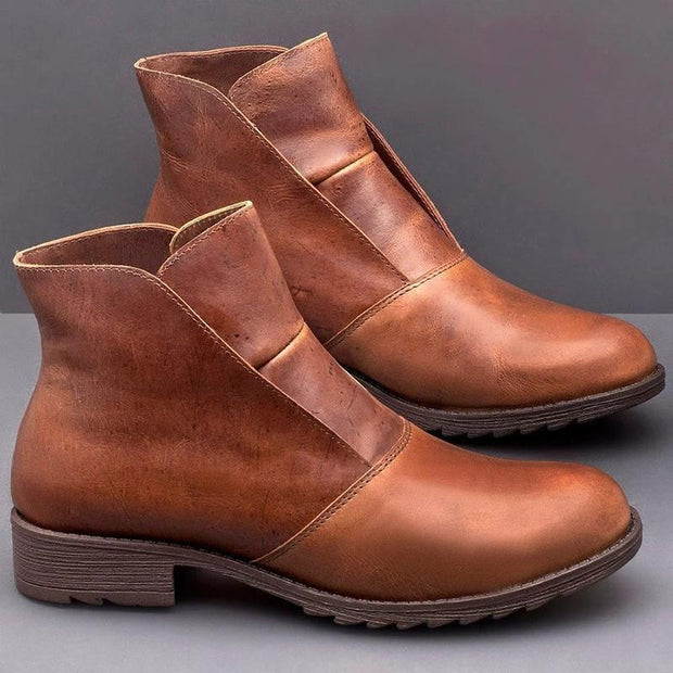 Casual Platform Square Heel Leather Brown Ankle Boots For Women