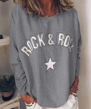Women Round Neck Cotton-Blend Long Sleeve Casual Tops