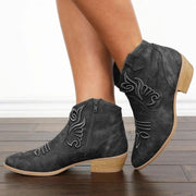 Ethnic Vintage Embroidered Flowers Zipper Black Ankle Boots