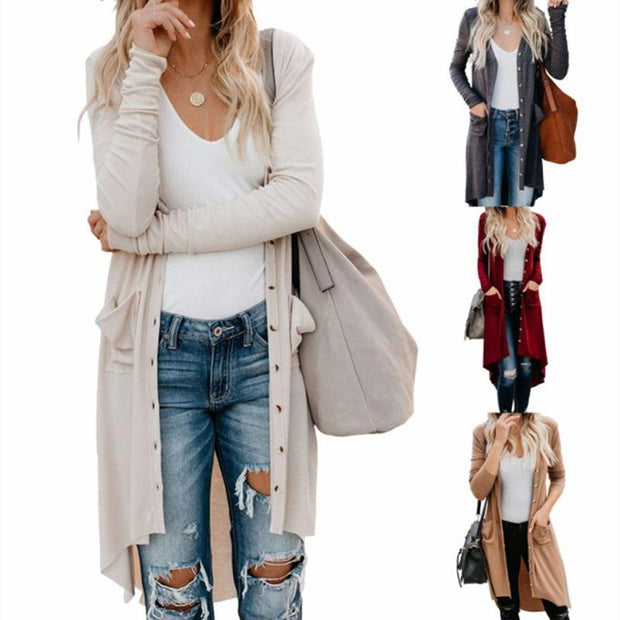 Women Knitted Long Sleeve Buttons Pockets Long Cardigan