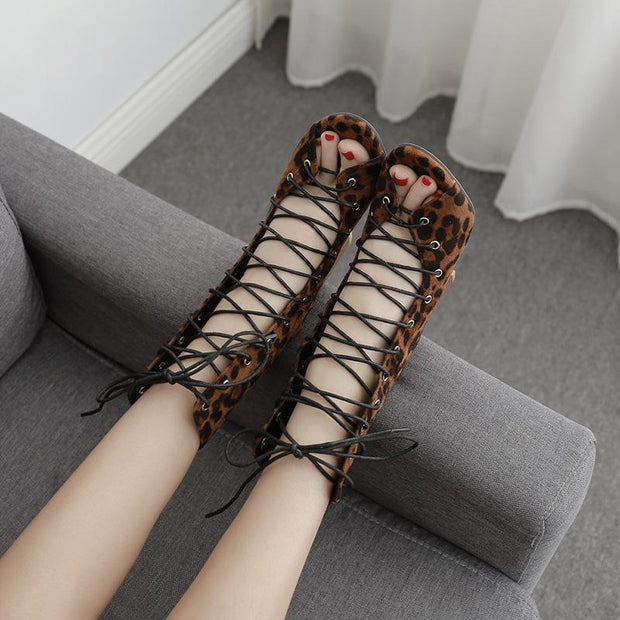 Women Lace Up Leopard Chunky Heel Sandals