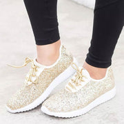 Women Comfy Shoes Plus Size Bling Sparkling Glitter Sneakers - Chicshoeshop