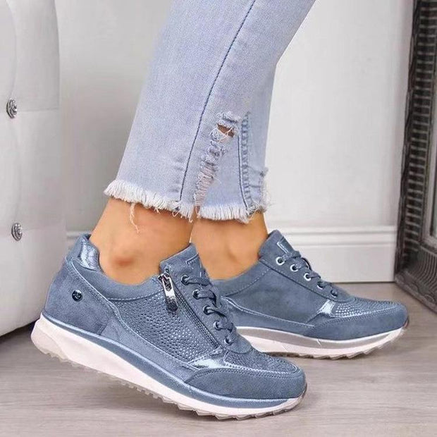 Women Wedge Comfortable Shoes Lace Up Sneakers - Chicshoeshop