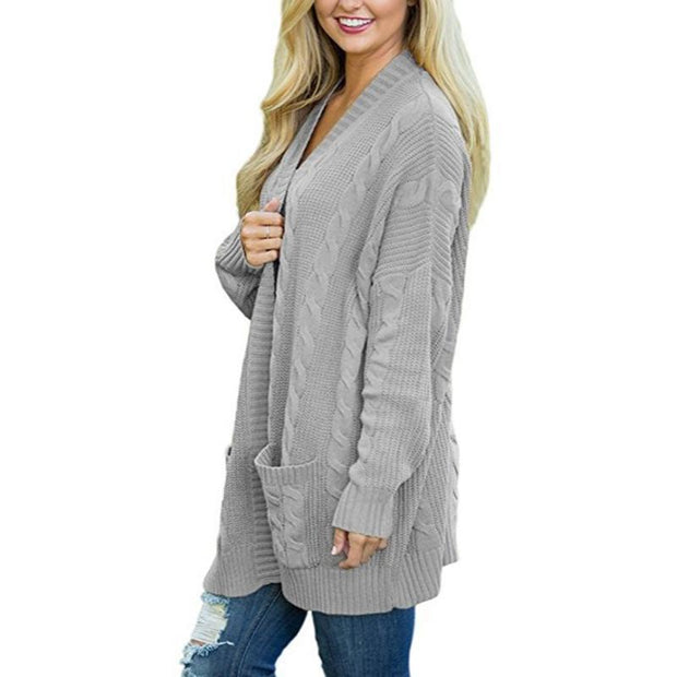Women Plus Size Knit Pockets Cardigan Sweater