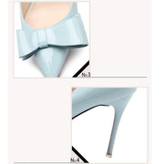 3 1/2 Inch Height Elegant Bowknot Cinderella Stiletto Blue Heels For Women - Chicshoeshop