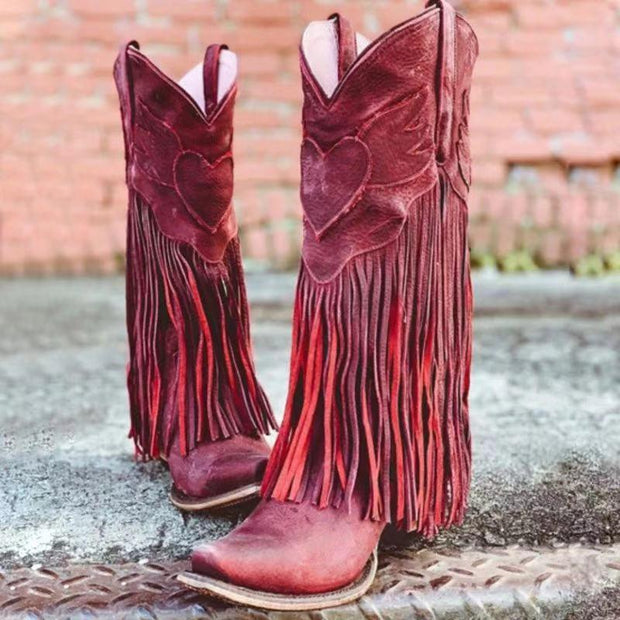 Women Vintage Chunky Tassel Wide Calf Boots