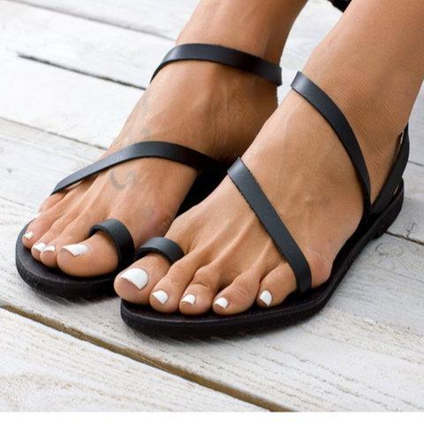 Fashion Toe Ring Flat Strappy Sandals For Women - Chicshoeshop