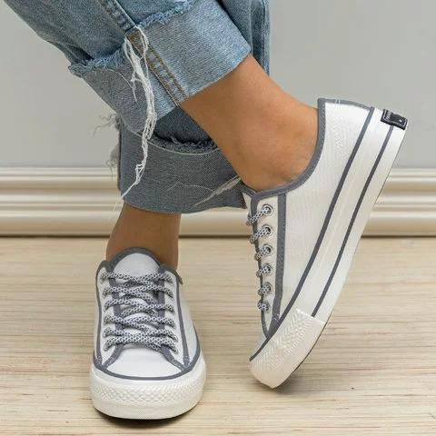 Women Retro Casual Lace Up Flat Heel Canvas Sneakers - Chicshoeshop