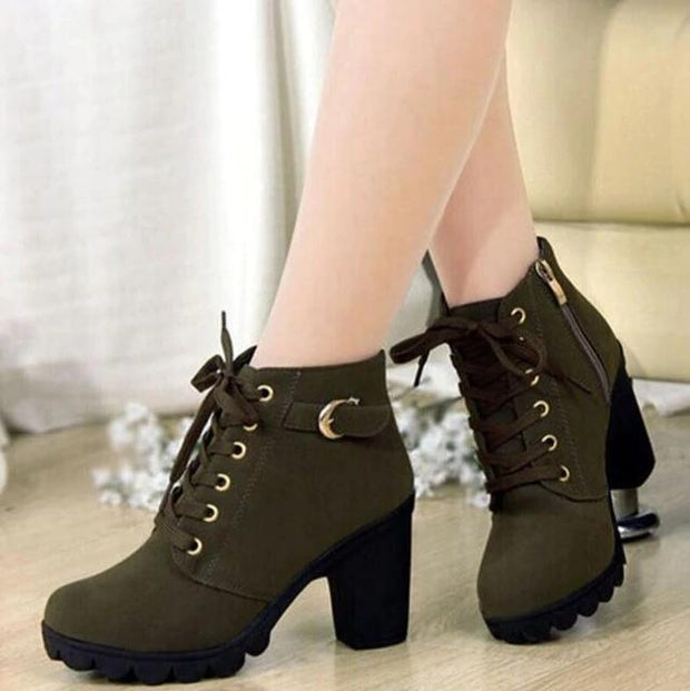 2020 New Autumn Winter Ladies Boots High Quality Lace Up Women Ankle Boots