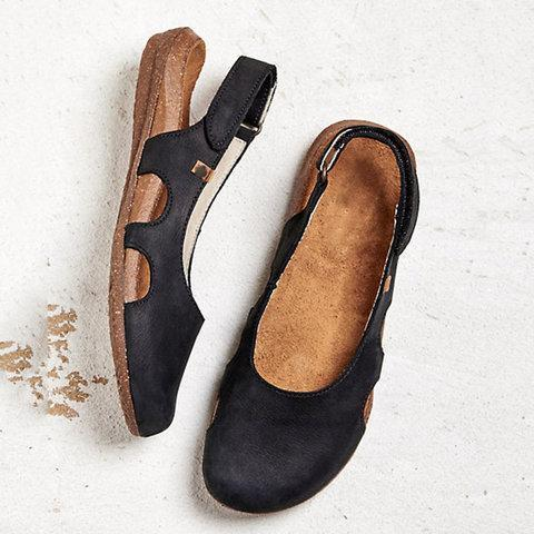 Beef Tendon Hollow Out Suede Comfy Sandals - Chicshoeshop