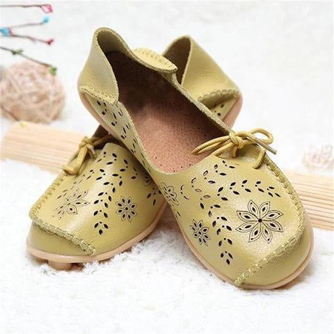 Women Large Size Breathable Hollow Out Flat Soft Shoes