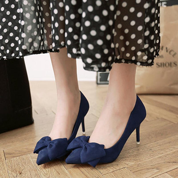 3 1/7 Inch Height Bowknot Suede Fashion Stiletto Business Heels For Women - Chicshoeshop