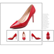 2 3/4 Inch Height Snake Scales Fashion Shallow Red Heels For Women - Chicshoeshop