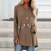 Women Casual Crew Neck Solid Long Sleeve Floral Shirts & Tops