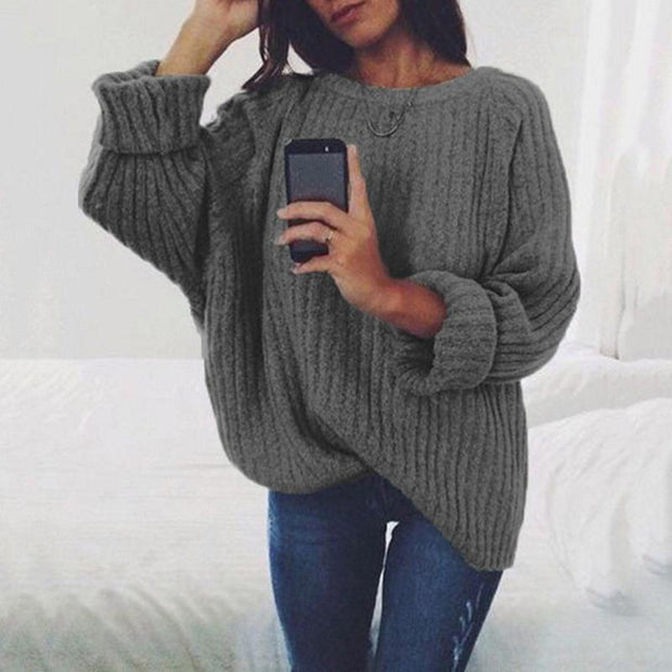 Solid Crew Neck Flared Sleeve Sweaters For Women