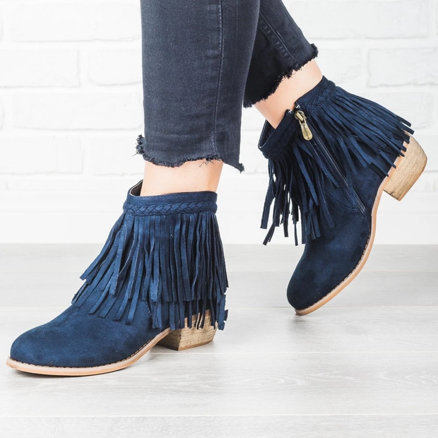 Women Chunky Heel Boots Round Toe Side Zipper Tassel Booties