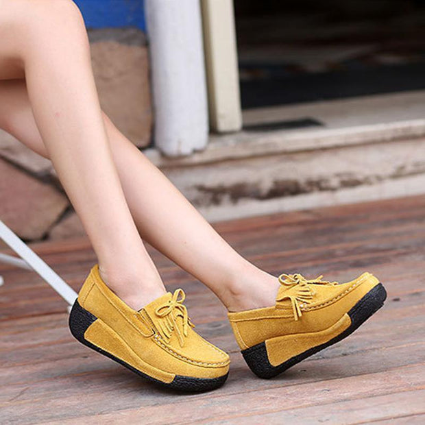 Soft Bowknot Round Toe Leather Platform Heel Loafers For Women - Chicshoeshop