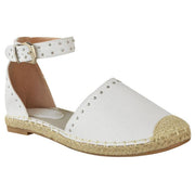 Women Summer Espadrilles Rivet Side Hollow Flat Heel Ankle Ring Sandals
