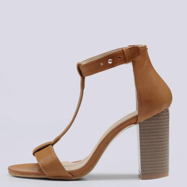 Wood Stripes Pattern T-type Straps Brown Women Sandals - Chicshoeshop