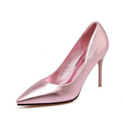 3 1/2 Inch Height Spring Shining Pointed Toe Gold Heels For Women - Chicshoeshop