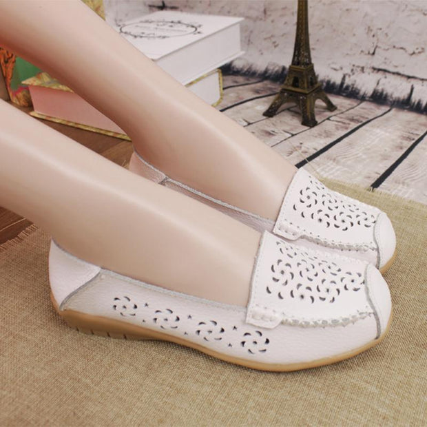 Hollow Out Breathable Non-Slip Pure Color Flat Shoes For Women - Chicshoeshop