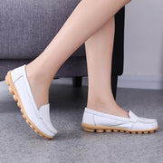 Leather Slip-on White Flats Comfy Flat Shoes For Women - Chicshoeshop