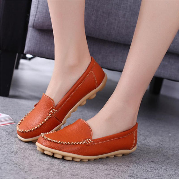 Leather Moccasins Loafers for Women Comfort Non-slip Driving Shoes - Chicshoeshop