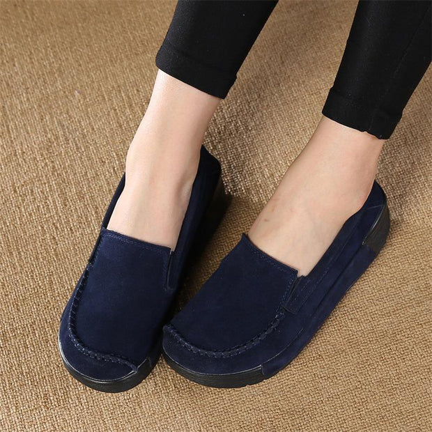 Suede Slip On Loafers Lazy Casual Flat Shoes For Women - Chicshoeshop