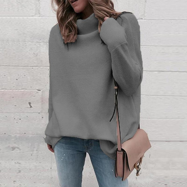 Women Solid Knit Loose Turtleneck Sweater