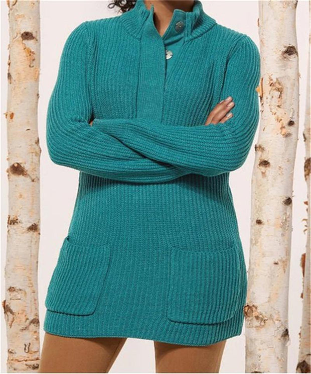 Women Standing Neck Knit Sweater With Pockets