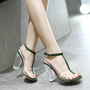 Crystal Chunky Heel Transparent Straps Sexy Green Women Sandals - Chicshoeshop