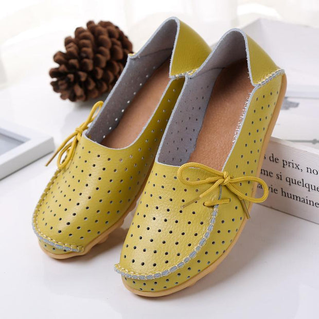 Summer Hollow Out Breathable Flat Shoes for Women Side Lace Up Flats - Chicshoeshop